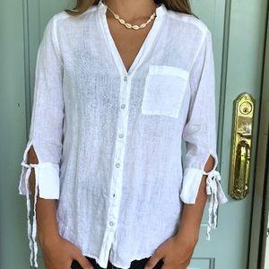 Zara White 100% Linen Long Sleeve Button Down Top